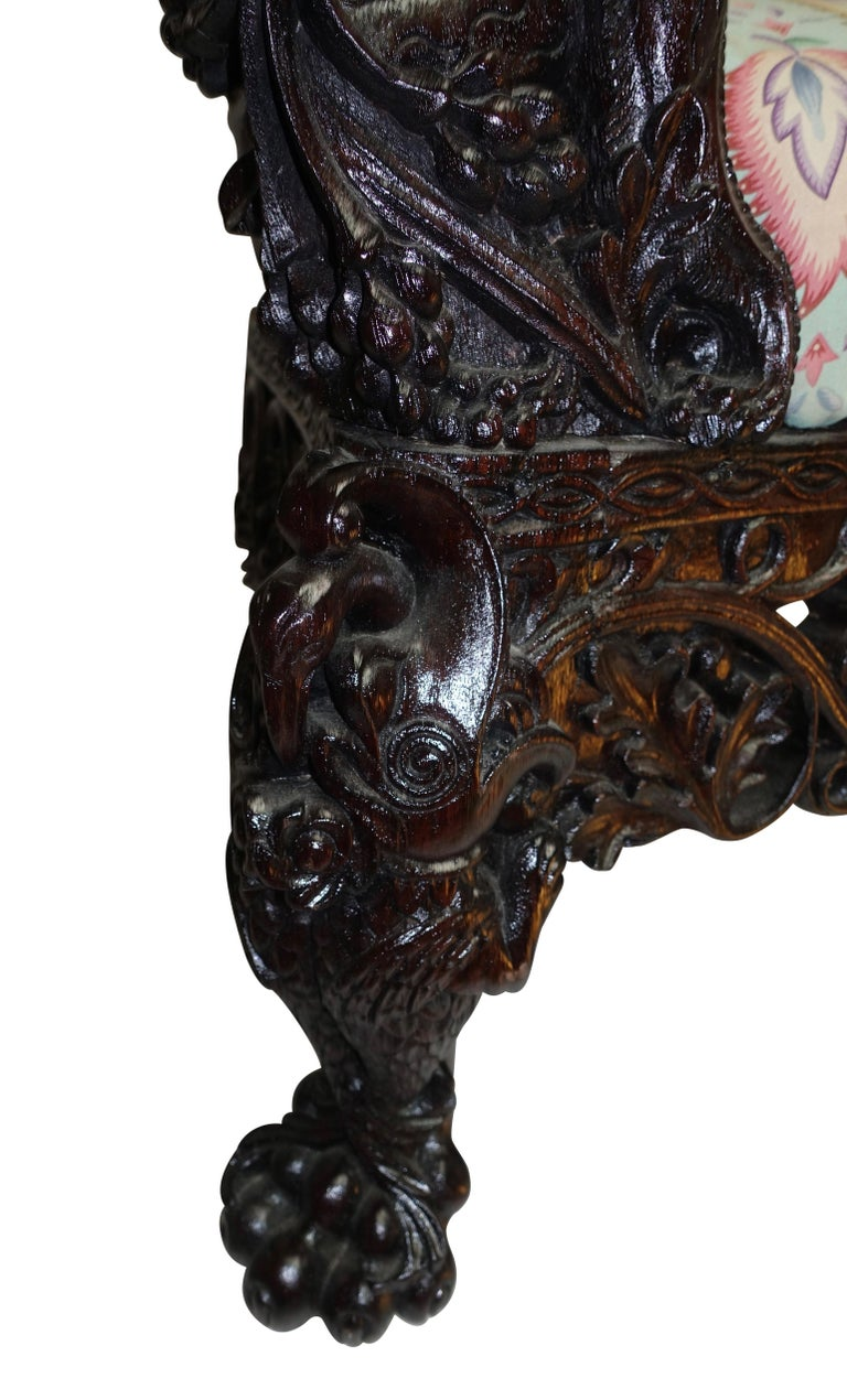 Burmese Padouk Wood Carved Settee Sofa, Asian 19th Century For Sale 2
