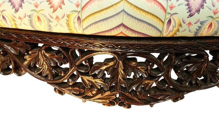 Burmese Padouk Wood Carved Settee Sofa, Asian 19th Century For Sale 3