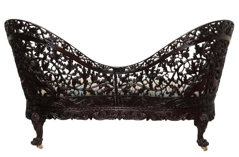 Burmese Padouk Wood Carved Settee Sofa, Asian 19th Century For Sale 4