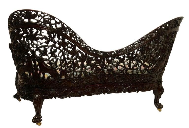 Burmese Padouk Wood Carved Settee Sofa, Asian 19th Century For Sale 5