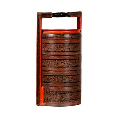 Burmese Pagan Dynasty Style Stacking Picnic Basket with Underglaze Decor