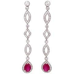 Burmese Pear Cut Ruby 3.84 Carat Round Diamond Dangling Platinum Earrings