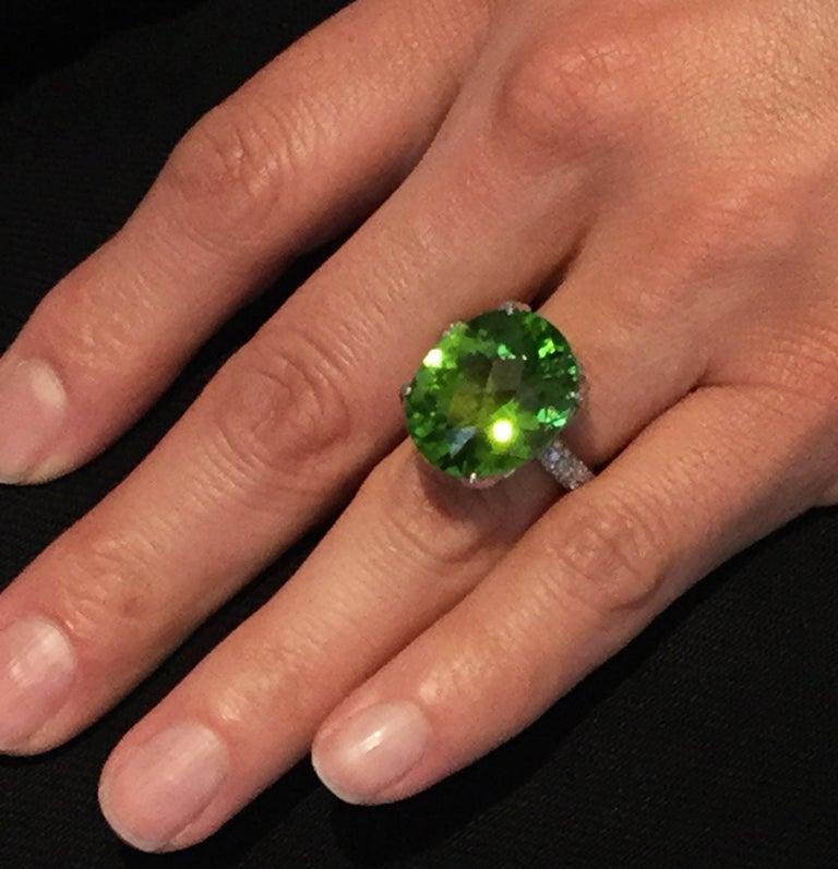 Women's Burmese Peridot Diamond Platinum Ring For Sale