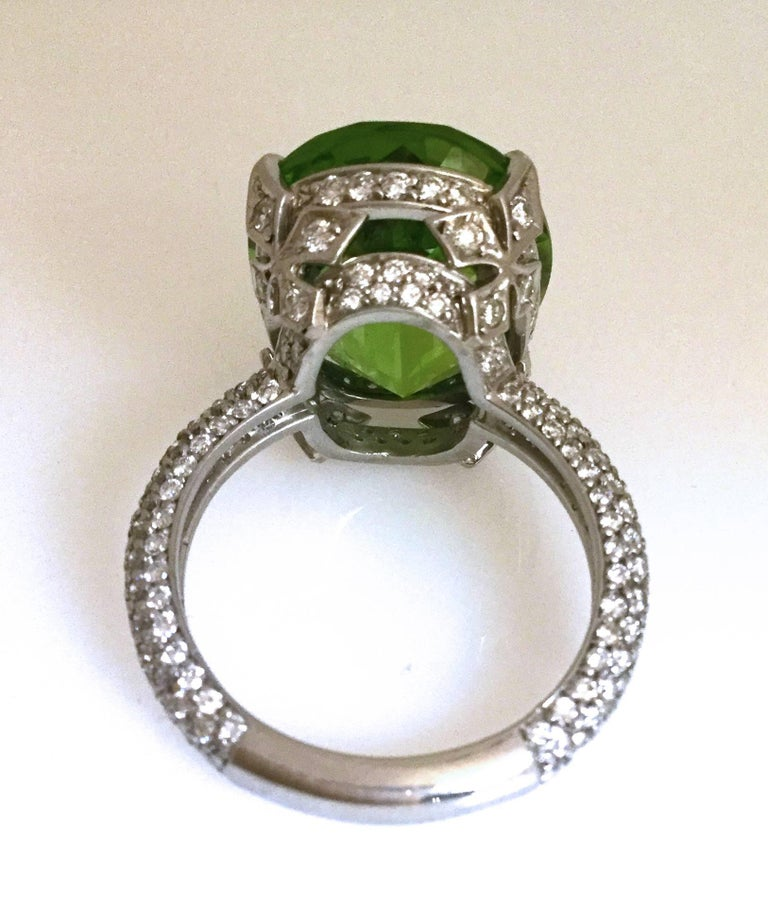 Burmese Peridot Diamond Platinum Ring For Sale 1