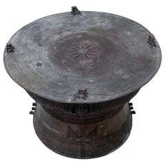 Burmese Rain Drum Cast Bronze Coffee Drink Table Intricate Relief Detail, 1900s