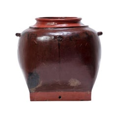 Burmese Red Lacquer Hanging Vessel