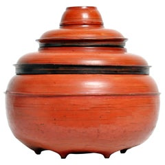 Burmese Red Lacquer Offering Urn