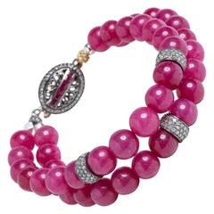 Burmese Ruby and Diamond Beaded Bangle Bracelet