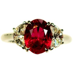 Takat 4.06 Cts Burmese Ruby And Diamond Ring In Platinum