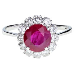 Burmese Ruby and Diamond Daisy Cluster Engagement Ring