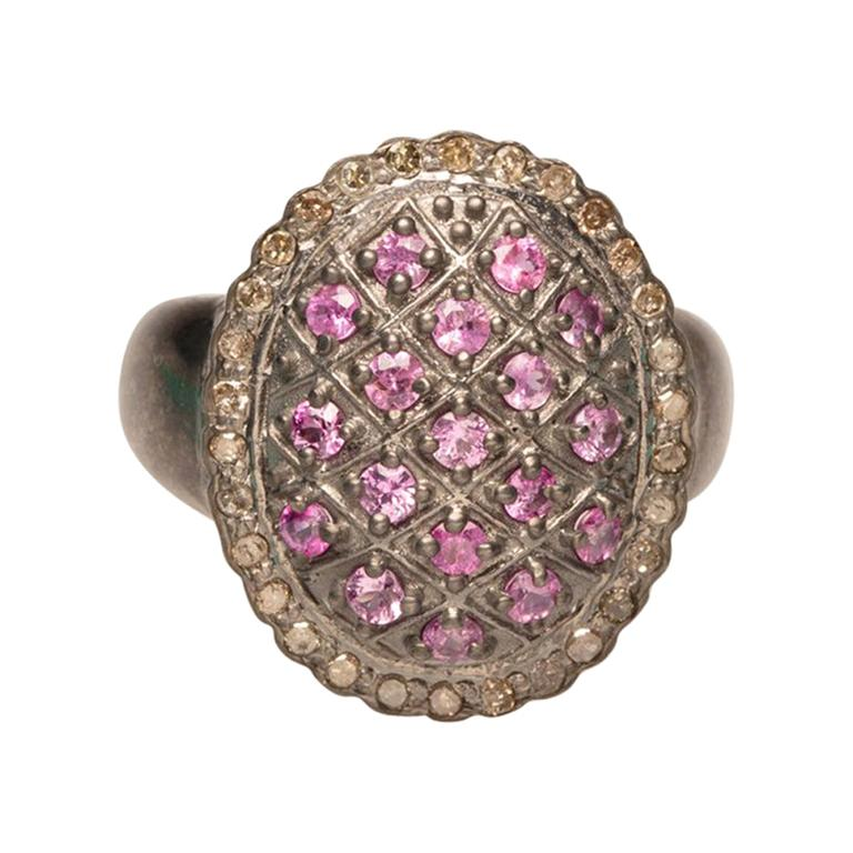 Burmese Ruby and Diamond Dome Cocktail Ring