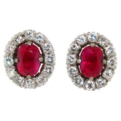 Burmese Ruby and Diamond Earstuds
