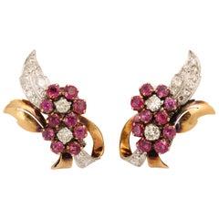Burmese Ruby and Diamond Retro Clip-On Earrings