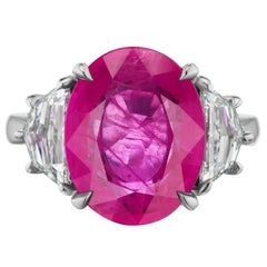 Takat 8.85 Cts GRS Certified Burmese Ruby And Diamond Ring In Platinum