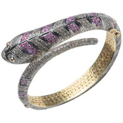 Burmese Ruby and Diamond Snake Bracelet