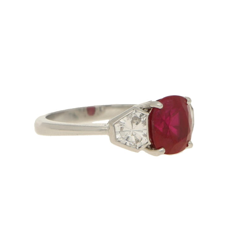 Art Deco Burmese Ruby and Diamond Three-Stone Engagement Ring Set in Platinum For Sale