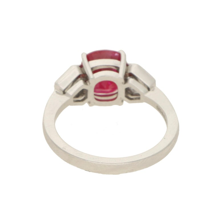 Cushion Cut Burmese Ruby and Diamond Three-Stone Engagement Ring Set in Platinum For Sale