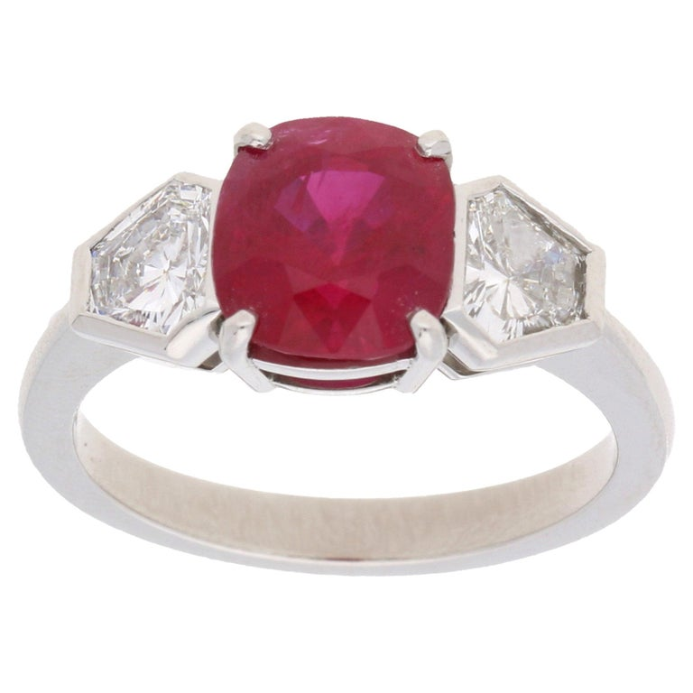 Burmese Ruby and Diamond Three-Stone Engagement Ring Set in Platinum For Sale