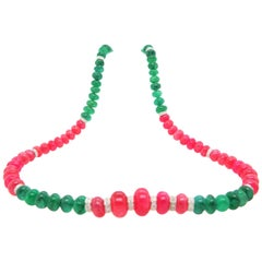 Burmese Ruby and Emerald Beads White Diamond Gold Necklace