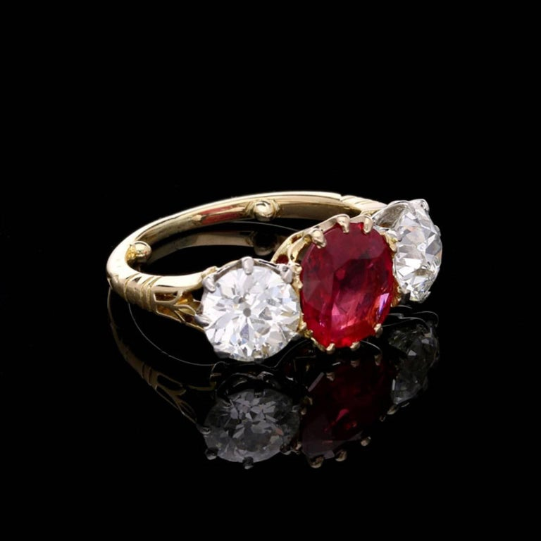 Contemporary Burmese Ruby and Old Cut Diamond Three-Stone Ring in Yellow Gold, circa 1950s For Sale
