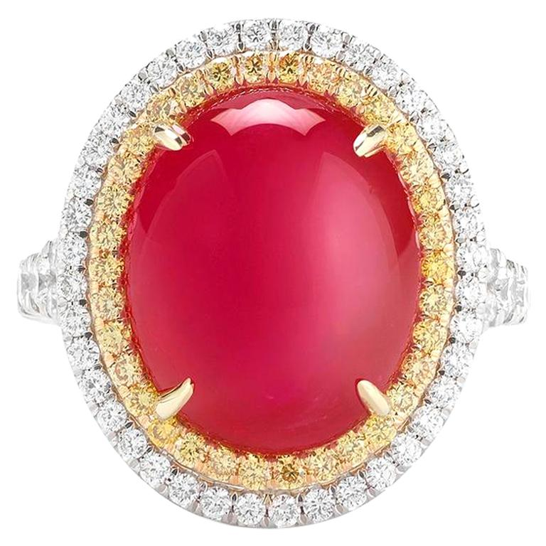 Burmese Ruby Cabochon And Diamond Ring In 18K Gold By RayazTakat