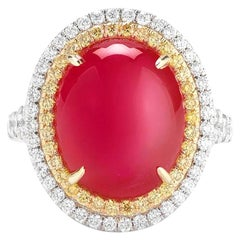 Takat 14.25 Cts Burmese Ruby Cabochon And Diamond Ring In 18K W/Y Gold