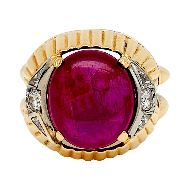 Baroque Burmese Ruby Cabochon on a 1950s Cocktail Ring For Sale