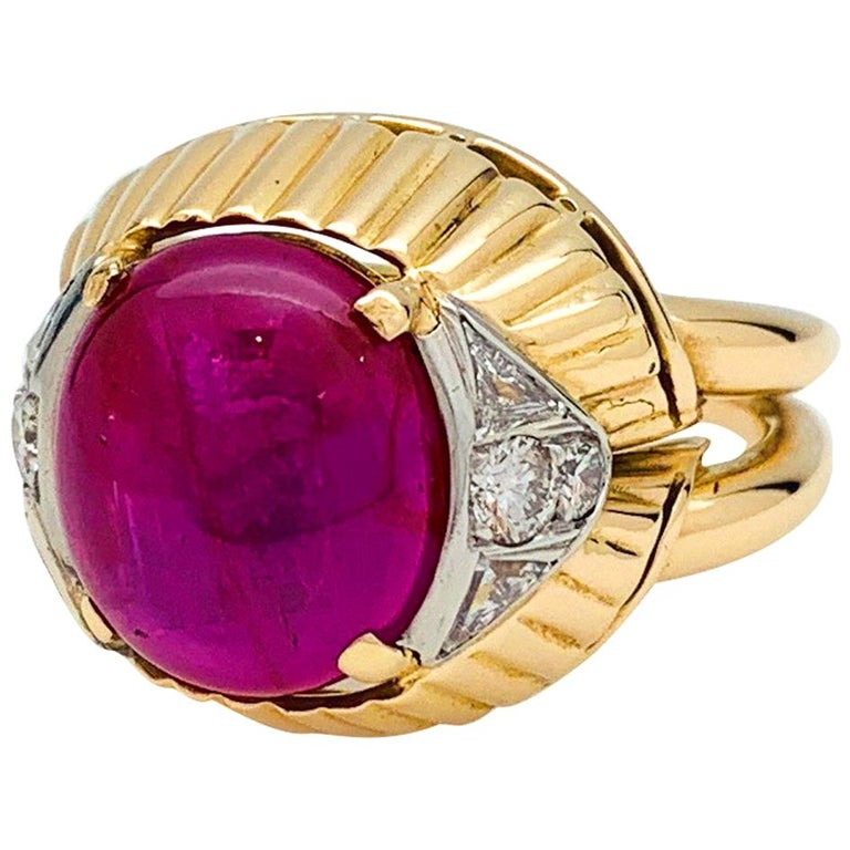 Burmese Ruby Cabochon on a 1950s Cocktail Ring For Sale