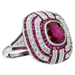 Burmese Ruby Diamond Cocktail Ring