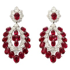 Burmese Ruby Diamond Hanging Earrings