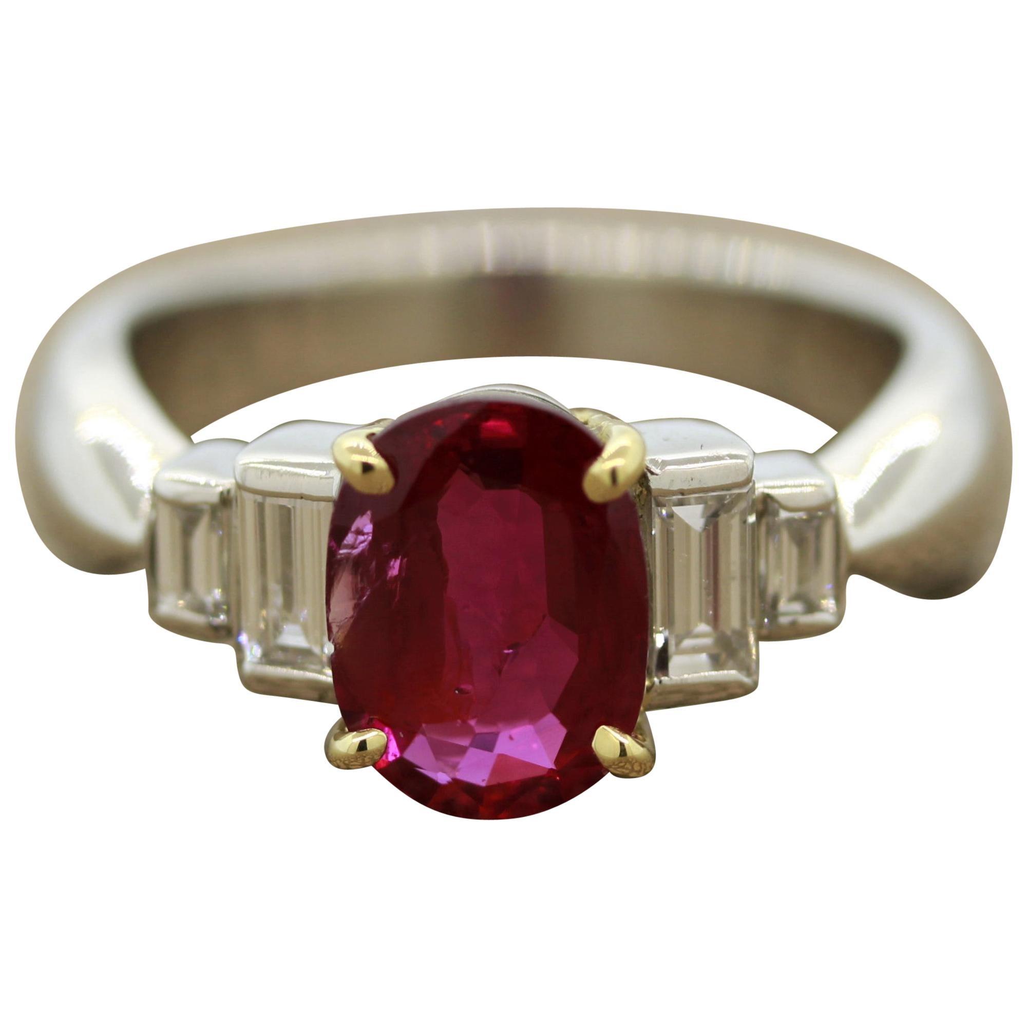 Burmese Ruby Diamond Platinum Ring, GIA Certified Unheated