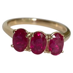 Burmese Ruby Trilogy Ring Yellow Gold