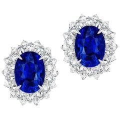 Burmese Sapphire and Diamond Platinum Earring
