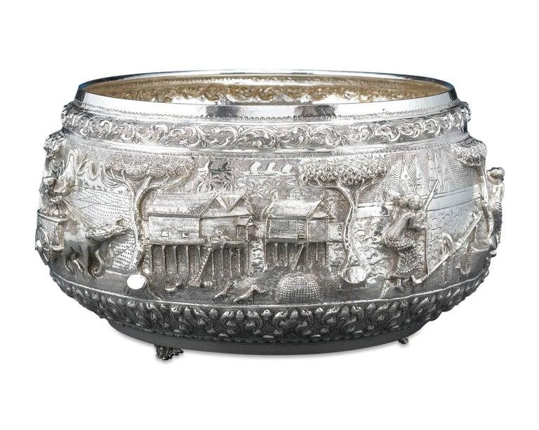 Repoussé Burmese Silver Bowl For Sale