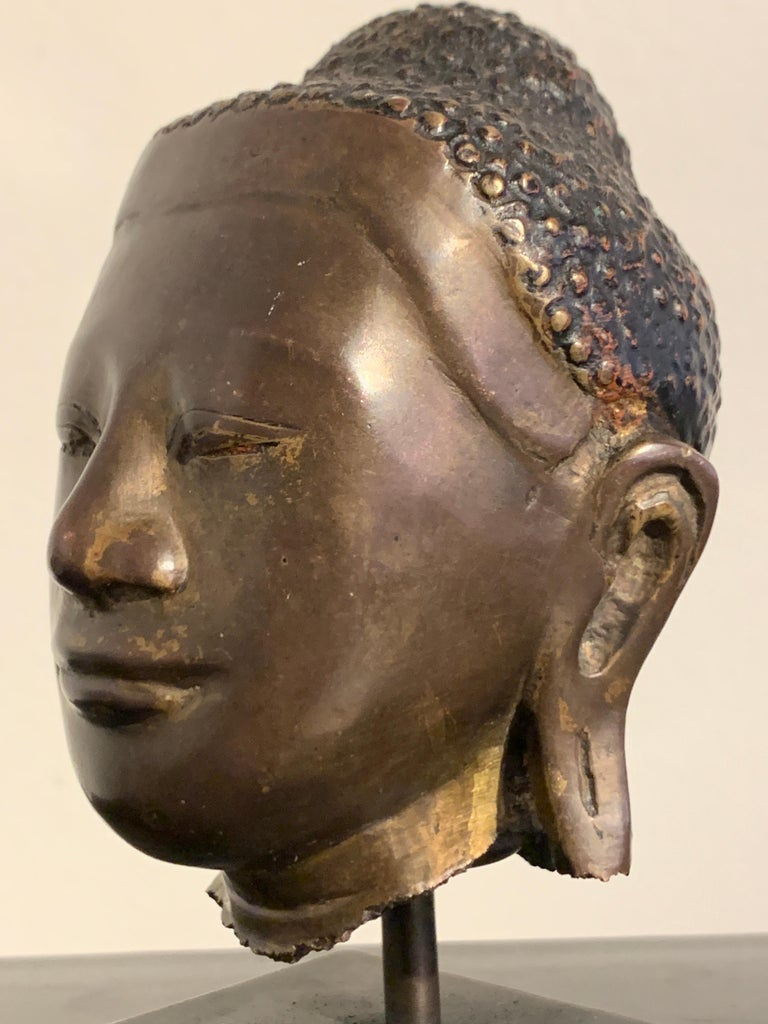 Burmese Small Bronze Mounted Head of the Buddha, Mandalay Period, 19th Century  For Sale 5