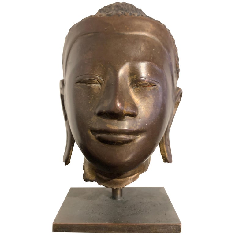Burmese Small Bronze Mounted Head of the Buddha, Mandalay Period, 19th Century  For Sale