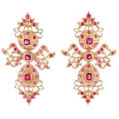 Burmese Spinel and 18K Gold Earrings