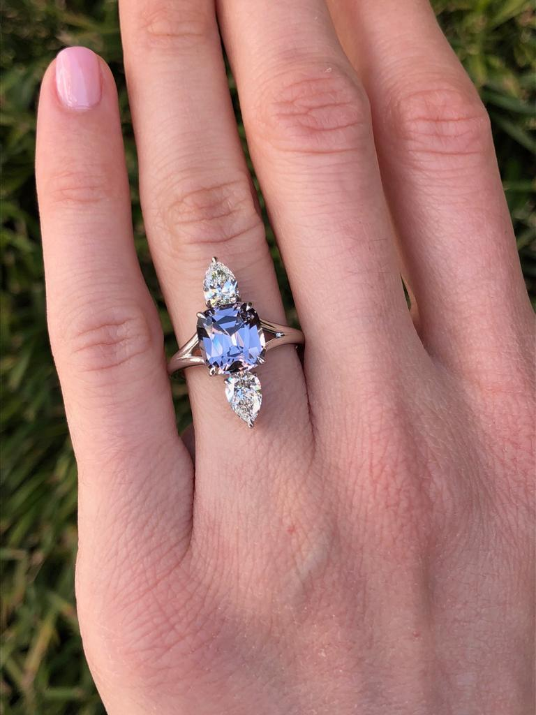 Cushion Cut Burmese Spinel Cocktail Ring Diamond Platinum GIA Certified For Sale