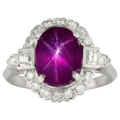 Burmese Star Ruby and Diamond Cluster Ring