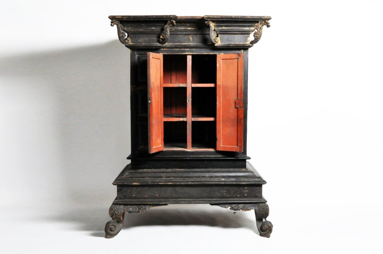 Gold Leaf Burmese Temple Manuscript Cabinet with Original Patina For Sale