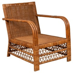 Burmese Vintage Bamboo and Rattan Plantation Lounge Chair with Trellis Accents