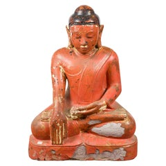 Burmese Vintage Lacquer over Stone Seated Buddha Calling the Earth to Witness