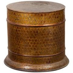 Burmese Vintage Negora Lacquer Circular Box with Snake Skin Pattern