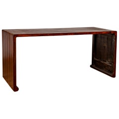Burmese Vintage Waterfall Console Table with Scrolling Feet and Dark Patina