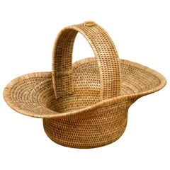Burmese Vintage Woven Rattan Hat-Shaped Flower Basket with Large Handle