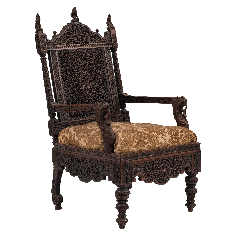 Burmese Walnut Filigree Armchair