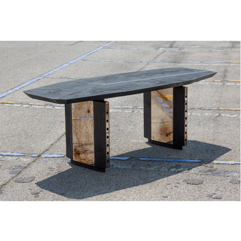 Burned Antique Oak and Stained Silver Metal Inserts  Spinzi Design Planar Table For Sale 2