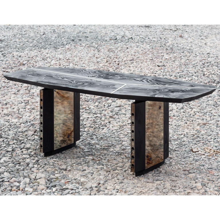 Burned Antique Oak and Stained Silver Metal Inserts  Spinzi Design Planar Table For Sale 3