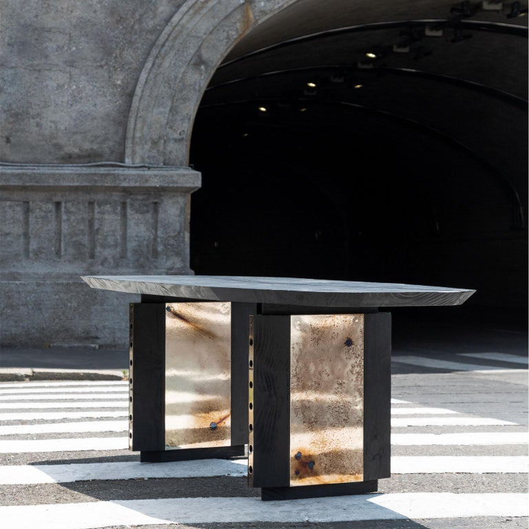 Planar Table brings together the delicacy and lightness of the planar surfaces connected to the world aircrafts with the smoothness of nature in its superficial finishes. Raw but classy, the table is an art piece that keeps honest and pure materials