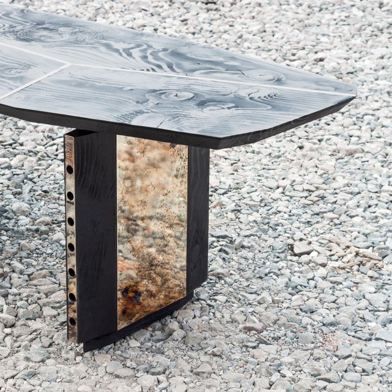 Italian Burned Antique Oak and Stained Silver Metal Inserts  Spinzi Design Planar Table For Sale